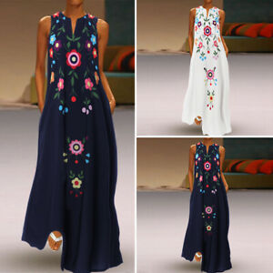 Womens-Summer-Plus-Size-Ethnic-Ladies-Sundress-Floral-Vintage-Long-Maxi-Dresses