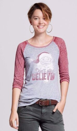 Womens Gray Dont Stop Believin Santa Christmas Well Worn 3//4 Sleeve Shirt XS S
