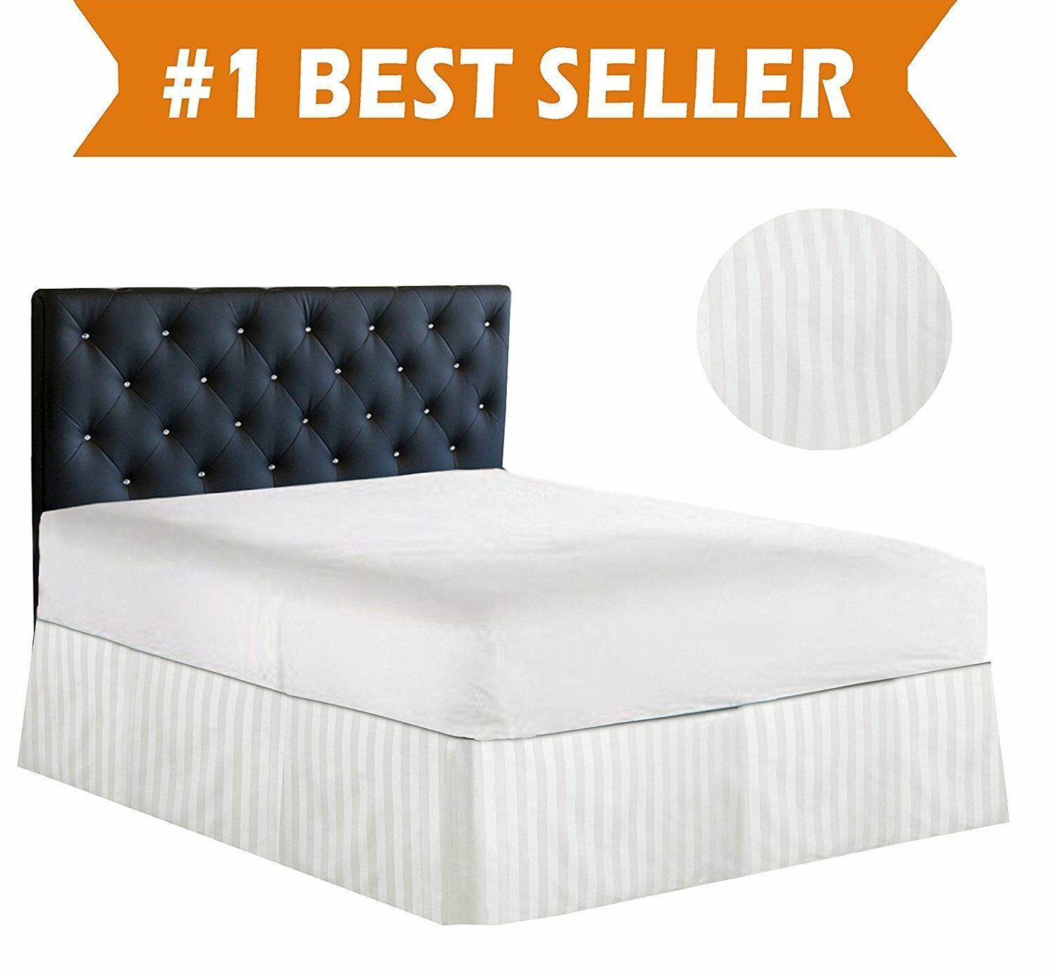1 Qty Bed Skirt (All Size US) 100% Egyptian Cotton 1000 TC White Stripe