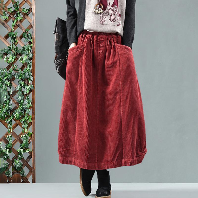 Vintage Womens Winter Autumn Corduroy A-line Skirt Casual Maxi Long Dress Warm
