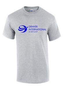 Denver-International-Airport-Tee-Shirt-Colorado-Snow-Ski-Blue-Gray-Tee-Shirt