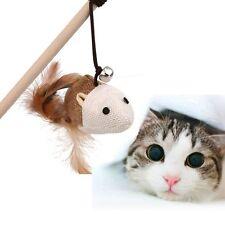 Holzstange Katze Spielzeug Elastisches Seil Faux-Maus Feder-Glocke