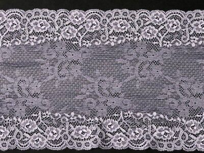 "laverslace Black Floral Wide Stretch Tulle Lace Trim 7/""//18cm Goth Sewing"