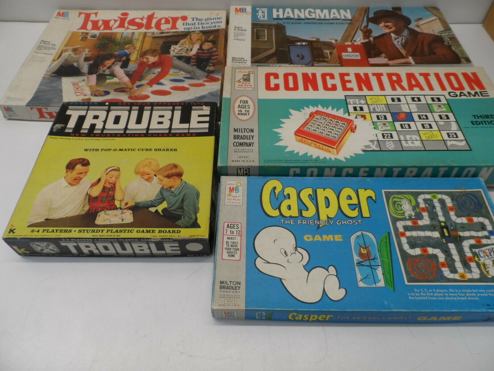 Lot of 5 Vintage Board Games -- Twister, Concentration, Casper, Trouble, Hangman