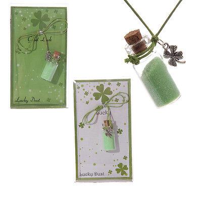 Ciondolo in peltro a forma di quadrifoglio con Polvere verde Portafortuna