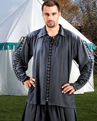 Medieval Shirt Mens Metal Loop Country Pirate Rayon S/M - XXL Black White C1109