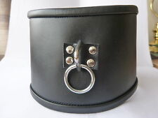 "LEATHER EXTRA WIDE 4.5"" posture Collar with ring (CO-70-LEA), FREE UK DELIVERY"