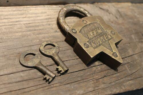 Antique Vintage Style Brass Keen Kutter Padlock Lock /& Key