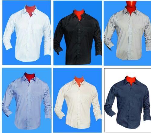 Gli uomini camicia NUOVA Ufficio semplice per il Lavoro Formale Casual Full//Manica Lunga Tutte le Dimensioni