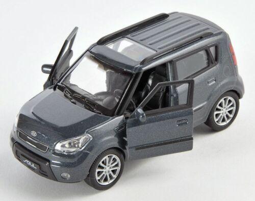 BLITZ VERSAND Kia Soul dunkelgrau dark grey Welly Modell Auto 1:34 NEU /& OVP