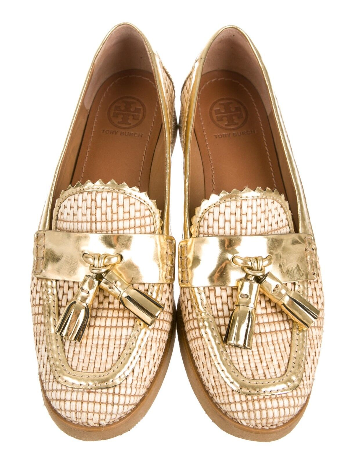 Tory Burch Careen Loafers Raffia Flats shoes shoes shoes Tassels gold 7.5M  295 811df4