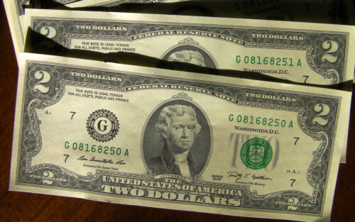 $2 bill two dollar bank note Federal Reserve USA Series G uncirculated 2009