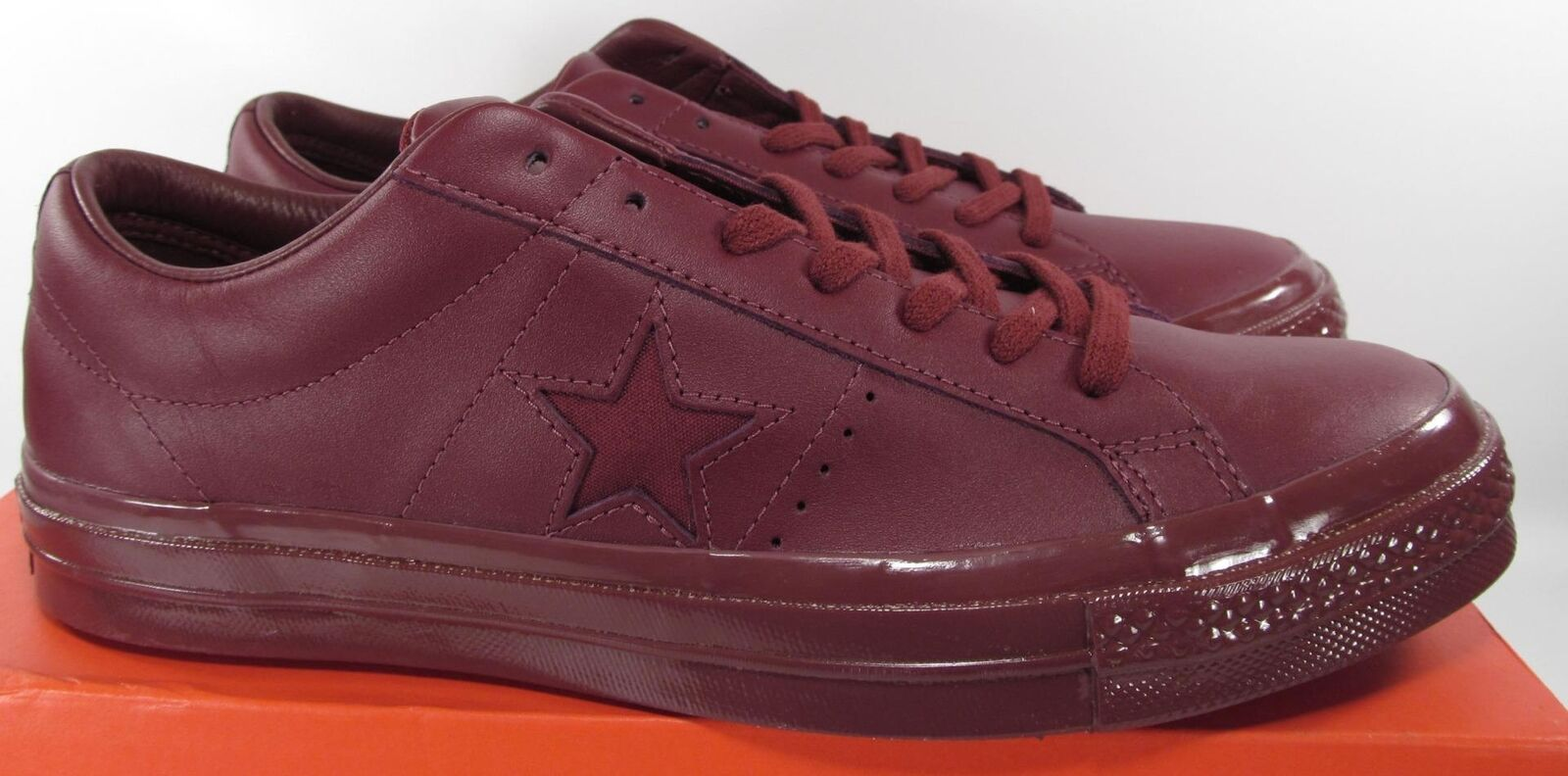 Converse One Star 74 Ox Lo Low Top MONO Bordeaux Burgundy Red LEATHER 155715C
