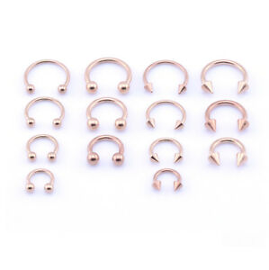 316L-ROSE-GOLD-Horseshoe-Bar-Lip-Nose-Septum-Ear-Ring-Various-Sizes-available