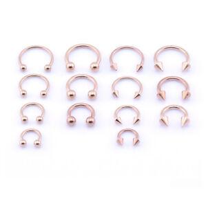 316L ROSE ORO Ferro di Cavallo BAR-Labbra Naso Setto EAR RING varie taglie disponibili  </span>