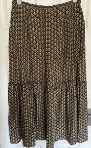LAURA-ASHLEY-Linen-Mix-Maxi-Skirt-Floaty-Size-UK-16-Vintage-Patten