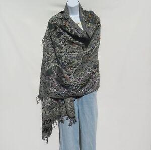 Yak-Sheep-Wool-Blend-Stitched-Embroidery-Shawl-Handcrafted-Nepal-Gray-Light-Gray
