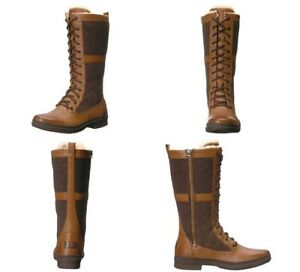 d910603b0a0 UGG ELVIA CHESTNUT TALL WATERPROOF LEATHER WOOL RAIN BOOTS SIZE 9 US ...