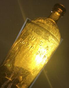 Blown Bottle USA HOSPITAL Civil War Medicine 1860s Huge Size Citroen Amber Nice