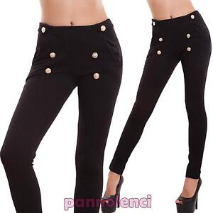 Women-039-s-trousers-skinny-elasticated-buttons-zip-cigarette-sexy-new-CR-2160