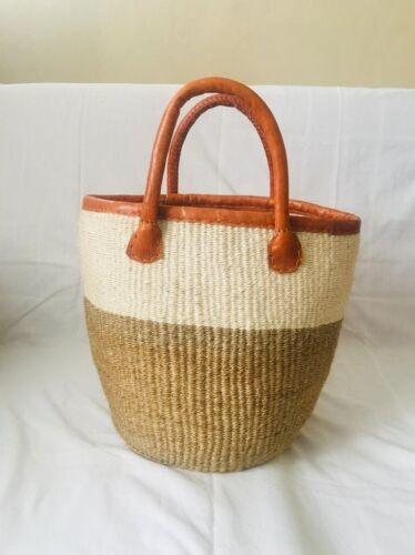 woven basket, shopping basket, mom basket, leather