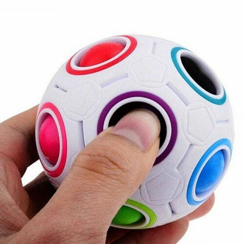Fidget Ball Rainbow Magic Puzzle Rubiks Cube Toy Autism Brain Stress Relief UK