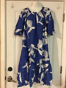 Beach Tropical Bianco Muumuu Hawaiian Dress Floreale Blu Hilo L Hattie qtHw7vvE