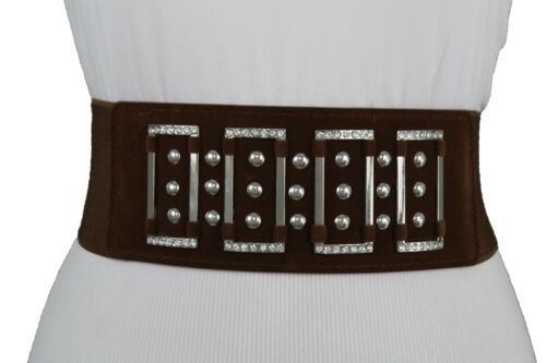 Women Brown Elastic Waistband Stretch Brown Faux Suede Fashion Belt Bling M L XL