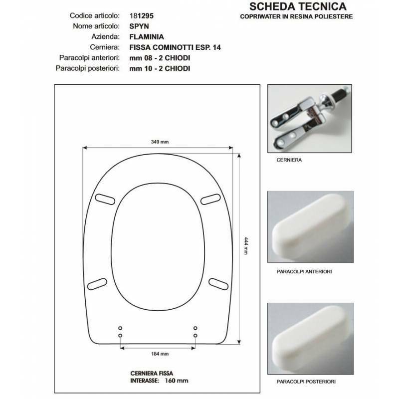 Sièges de toilette Flaminia SPIN BLANC Fermeture éclair chrome-siège-axe Wc