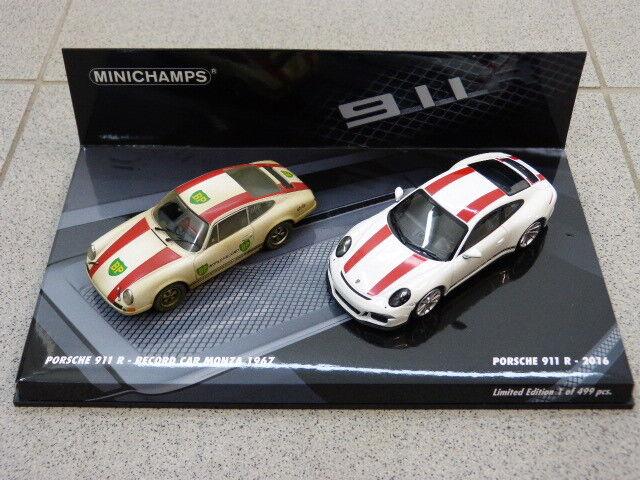 PORSCHE 911 R 2016 & 911 R R R Record Car Monza 1967 voiture miniature SET MINICHAMPS 1:43   Nous Avons Gagné Les éloges De Clients  de55cc