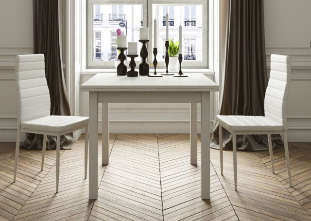 Mesa de Comedor Cuadrada Extensible - Blanca