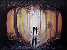 ooak Original art painted painting Acrylic Canvas forest landscape romantic