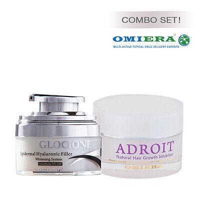Omiera Labs Anti-Aging Extra Whitening Cream + Facial Hair Growth Inhibitor Set