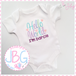 ab3cd2be297 Image is loading Personalised-039-Hello-World-039-Vest-Bodysuit-New-