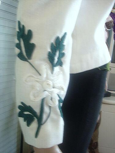 Blaser Creatrice 36 38 Couture Vert Brode Blanc Blanche Veste T Et Neuve ZqwCw