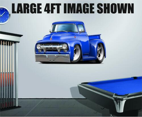 1954 Ford F100 302 Hotrod Cartoon Truck  Wall Stickers Graphics Decal Poster