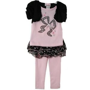 c55095329c43 Posh Pink Black Little Lass Girls Top Tutu Leggings 3-Pc Set