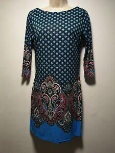 Atmosphere-Blue-Geometric-Print-Long-Sleeve-Sheath-Dress-Size-10-072g