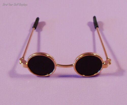 """1 pair DOLL SUNGLASSES ~ NEW Hinged. Black lenses BRASS FRAMES 2.25/"""" wide"""