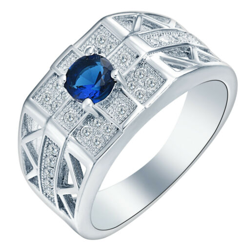 Hommes Fashion Jewelry 925 silver sapphire topaz Anneaux Mariage Fiançailles
