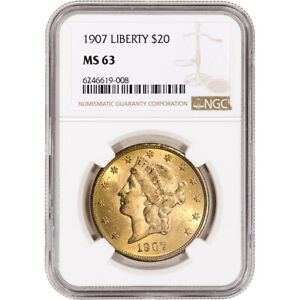 1907 US Gold $20 Liberty Head Double Eagle - NGC MS63