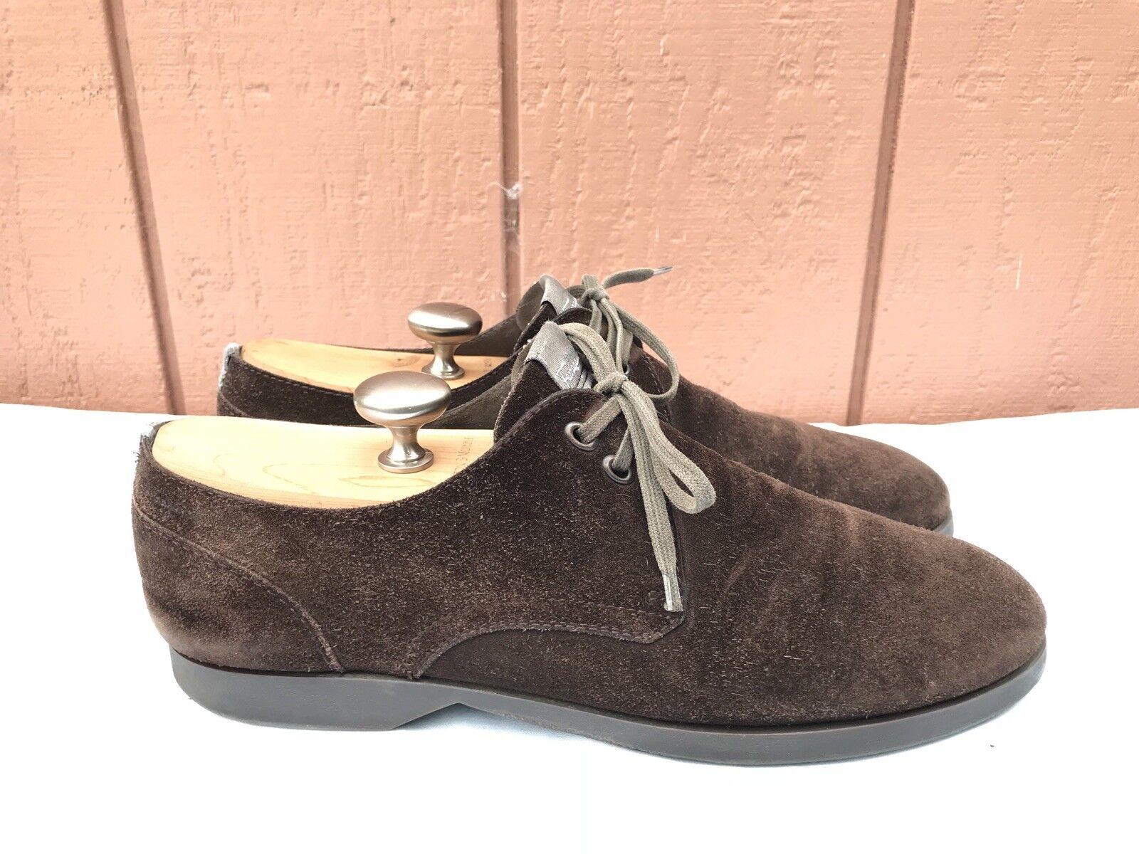Men's Salvatore Ferragamo Größe US 9.5 EE Suede braun Leather Lace Up schuhe A8