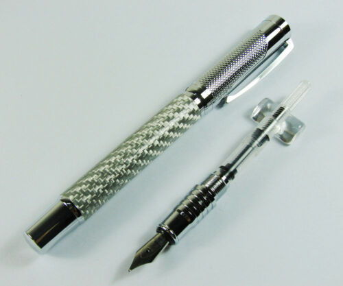 Fuliwen Silver Rain Carbon Fiber Fountain Pen Medium Nib Size