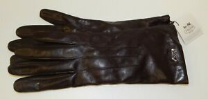 NWT-Coach-Mahogany-Leather-Cashmere-Lined-Gloves-Size-8
