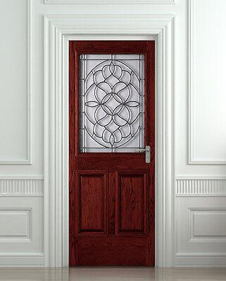 Door, Wall or Fridge STICKER wooden grate entrance decole mural poster wrap skin