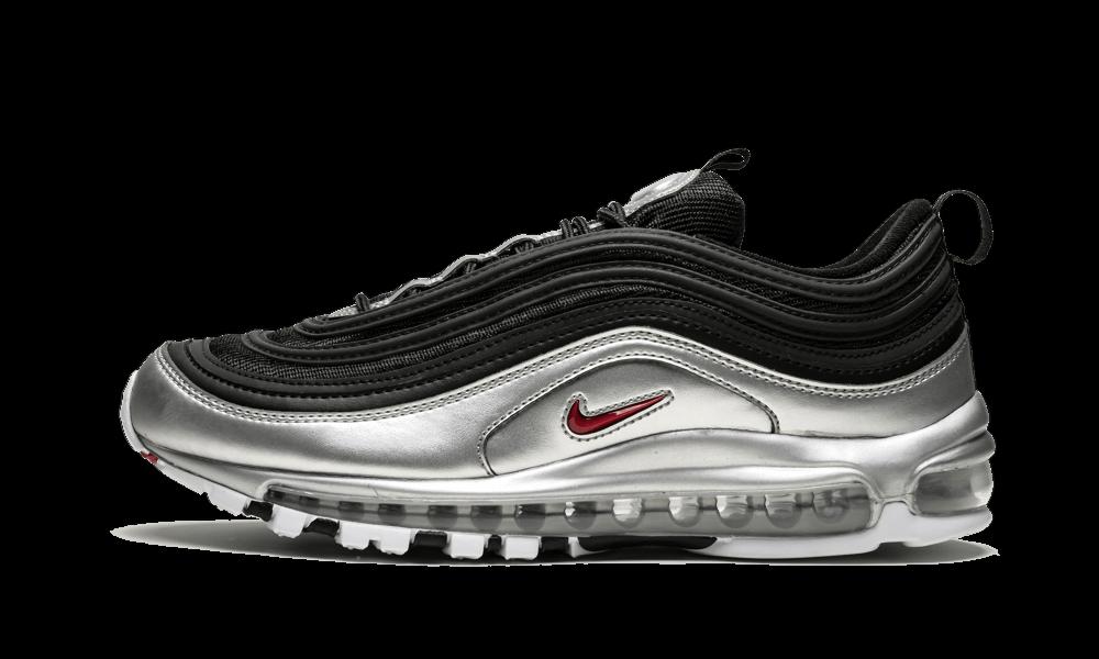Nike Air Max 97 QS BLACK SILVER B SIDES METALLIC BULLET RED AT5458 001 Men Women