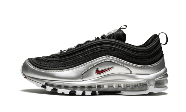 Nike Air Max 97 QS BLACK SILVER B SIDES METALLIC BULLET RED AT5458 001 Men Women