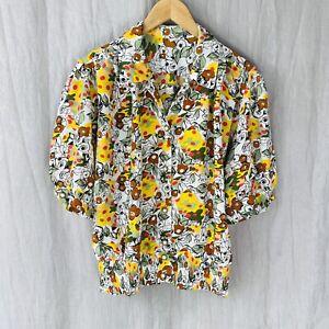 *VINTAGE* Multi Floral Art Print SIZE 14/16 UK Short Sleeve Button Up Blouse V1