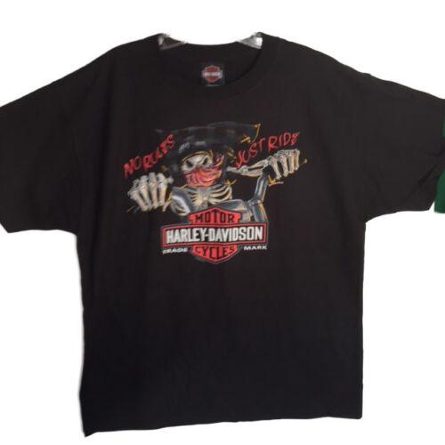 """Harley-Davidson Men/'s Black /""""No Rules Just Ride/"""" Biker Bones shirt  Large"""