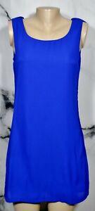 DECREE Blue Sleeveless Short Dress Medium Ruffle Trim at Tied Back Lined